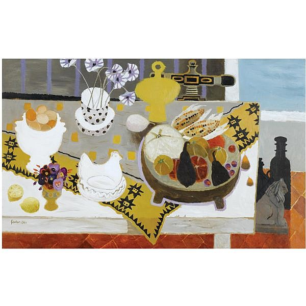 - Mary Fedden, R.A. , b.1915 My Things oil on canvas