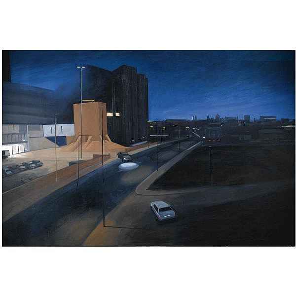 - Maurice Cockrill, R.A. , b.1936 Nocturne to the City oil on canvas, unframed