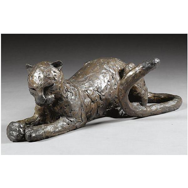 - Paul Jenkins , b.1949 Leopard bronze