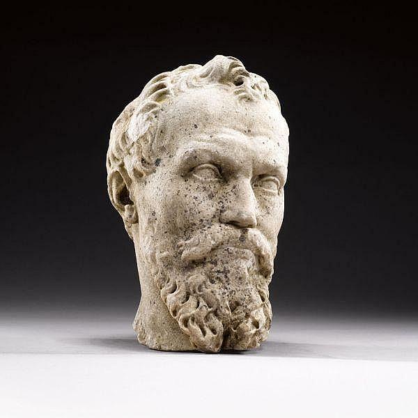 Italian, Rome, 18th/ 19th century After a model by Daniele da Volterra (1509-1566) , head of Michelangelo white marble