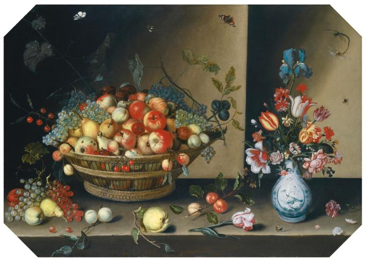 JOHANNES BAERS   Still life of apples, pears, peaches and plums with grapes and walnuts in a wicker basket, together with flowers, including tulips, irises and carnations in a blue and white vase upon a table top