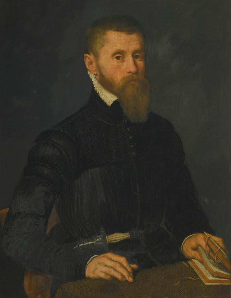 ATTRIBUTED TO NICOLAS NEUFCHATEL | Portrait of a bearded man, half-length, sitting at a table and holding an open book, with a dagger at his waist