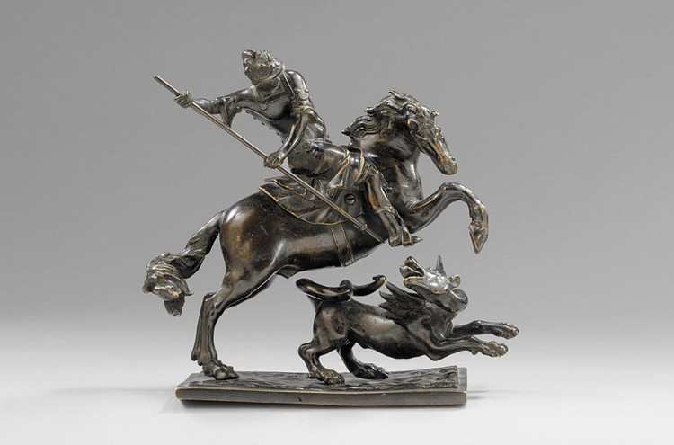 f - FRANCESCO FANELLI (1577-AFTER 1641), ITALIAN, MID 17TH CENTURY A BRONZE GROUP OF ST. GEORGE