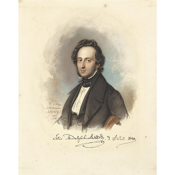 Mendelssohn Bartholdy, Felix. , Fine unrecorded portrait, signed by the composer (