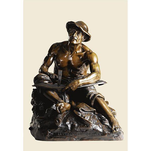 Jean-Jules-Antoine Lecomte du Noüy , French 1842-1929 LE FER QUI DONNE DU PAIN bronze, mid brown patina