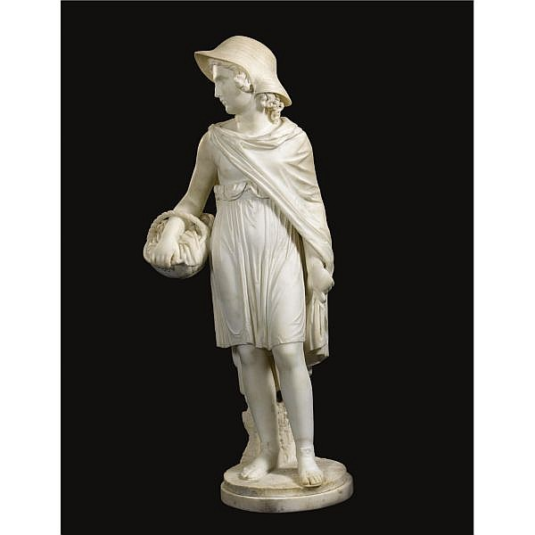 Joseph Gott , British 1786-1860 LITTLE RED RIDING HOOD white marble, set on a shallow white marble plinth