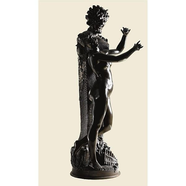 Dominique Van Den Bossche , Belgian 1854-1967 BACCHANAL GROUP bronze, dark brown patina