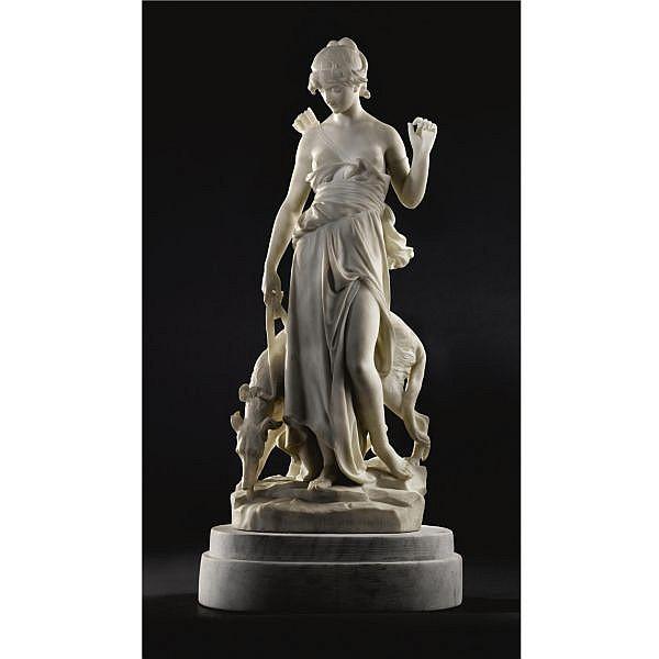 Eugène-Antoine Aizelin , French 1821-1902   NYMPHE DE DIANE white marble
