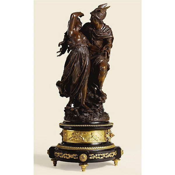 Jean-Louis Grégoire , French 1840-1890 PERSEUS ET ANDROMEDA   bronze, dark brown patina, raised on a gilt-bronze mounted black Belgian marble base
