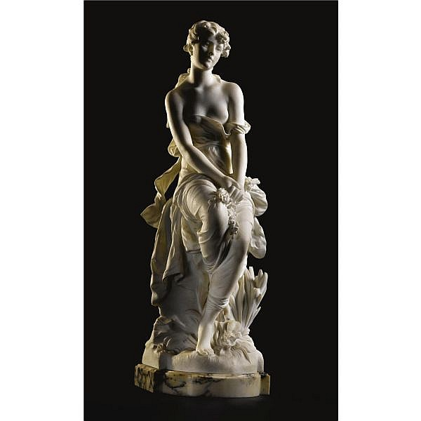 Hippolyte-François Moreau , French 1832-1927 LE RÊVE white marble on a brèche verte marble base