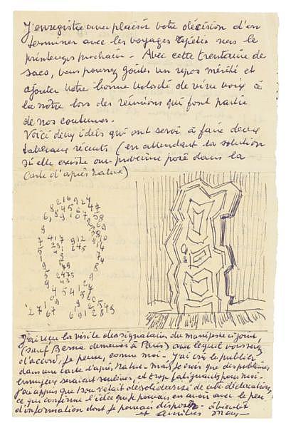 Lettre autographe signée [à Marcel Mariën ?] ornée de 2 dessins originaux. S.l., 15 novembre [1952]. , Magritte, René