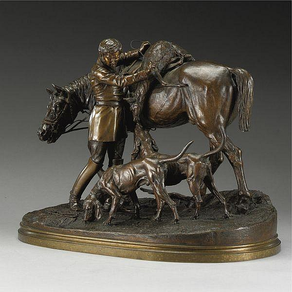 Alfred Dubucand , French 1828-1894 Le retour de la chasse a courre bronze, light brown patina