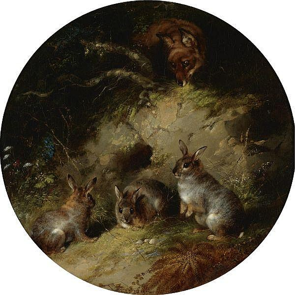 George Armfield , British fl.1840-1875 A Fox Stalking three Rabbits oil on canvas
