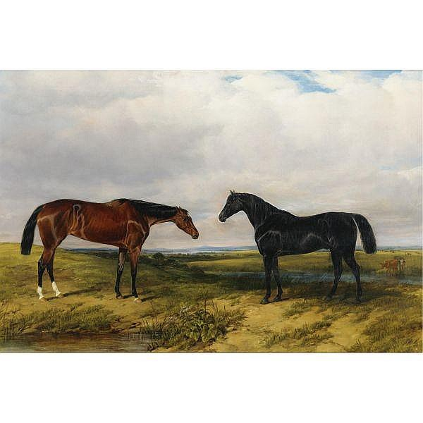 William Luker Sr. , British 1828-1905 Two Horses in an extensive landscape oil on canvas