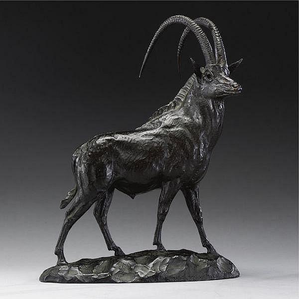 James Lippett Clark , American 1883-1957   Sable Antelope bronze, dark brown patina