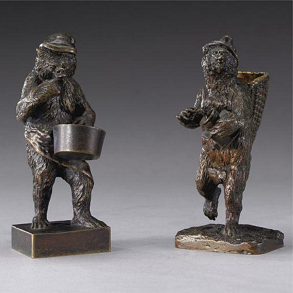 Christophe Fratin , French 1800-1864 Gourmet Bears, Bear with pot and Bear with grinder (two works) bronze, brown patina
