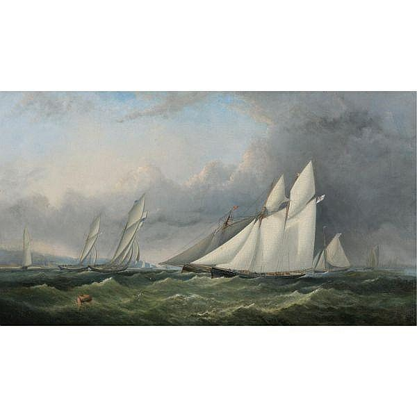 Arthur Wellington Fowles , British fl.1840-1860 A Yacht Race on the Solent, off Cowes - Isle of Wight oil on canvas