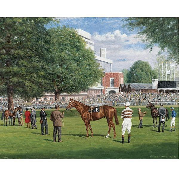 Richard Stone Reeves , American 1919-2005 Sagaro in the Paddock at Royal Ascot oil on canvas