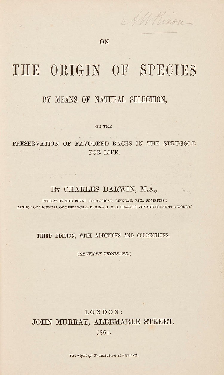 DARWIN, CHARLES. ON THE ORIGIN OF SPECIES, 1861 (1 VOL.)