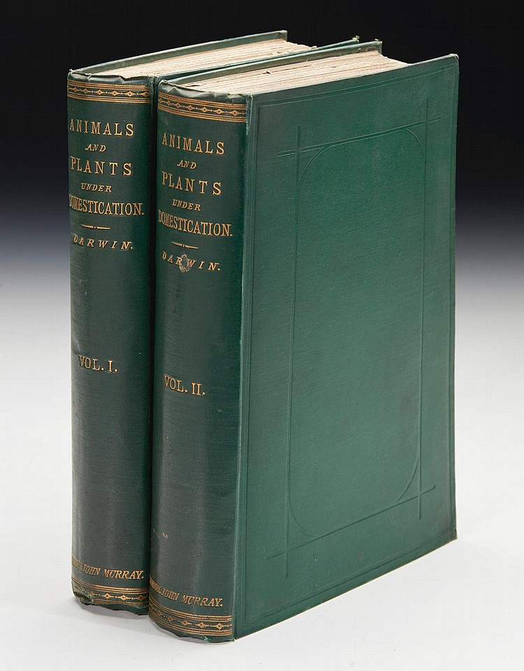 DARWIN, CHARLES. THE VARIATION OF ANIMALS AND PLANTS UNDER DOMESTICATION, 1868 (2 VOL.)
