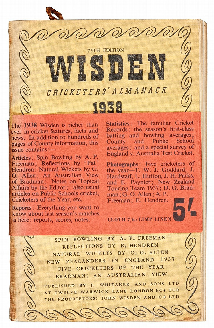 WISDEN, JOHN. CRICKETERS' ALMANACKS FOR 1898 AND 1938 (2 VOL.)