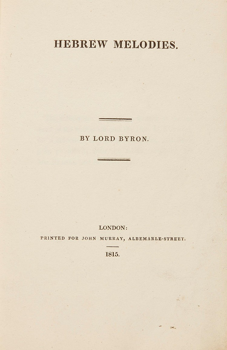 BRYON, LORD. HEBREW MELODIES, 1815 (1 VOL.)