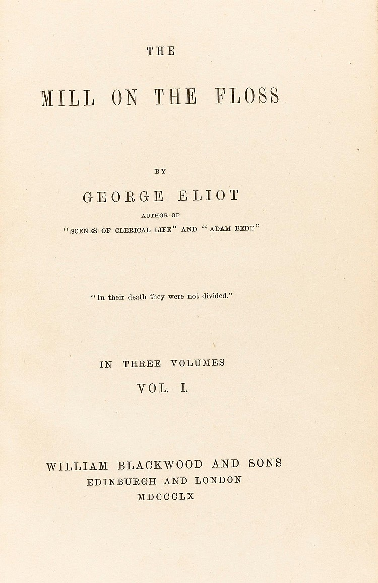 ELIOT, GEORGE. THE MILL ON THE FLOSS, 1860 (3 VOL.)
