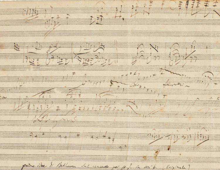 BEETHOVEN, LUDWIG VAN. AUTOGRAPH SKETCH-LEAF FOR THE FIFTH PIANO CONCERTO, [LATE 1808-EARLY 1809]