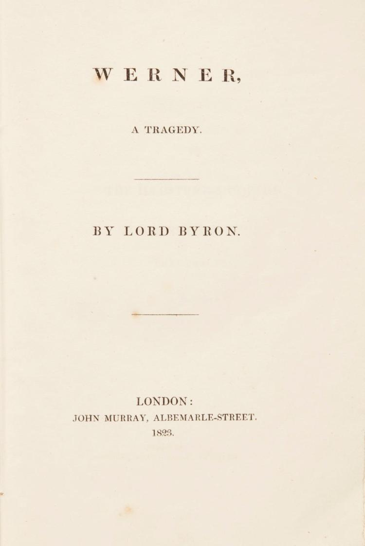 BYRON, LORD. WERNER, A TRAGEDY, 1823 (1 VOL.)