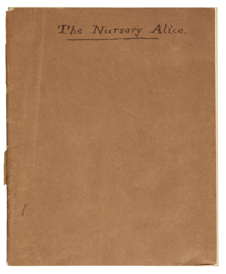CARROLL, LEWIS. MANUSCRIPT EXERCISE BOOK DETAILING RECIPIENTS OF THE NURSERY ALICE, 1889 (1 VOL.)