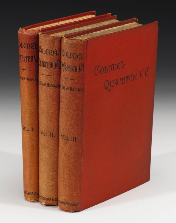 HAGGARD, H. RIDER. COLONEL QUARITCH, 1888 (3 VOL.)