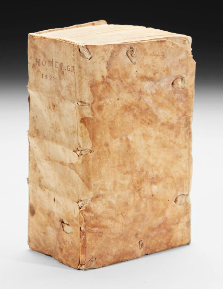 HOMER. [WORKS], 1524, CONTEMPORARY VELLUM (1 VOL.)