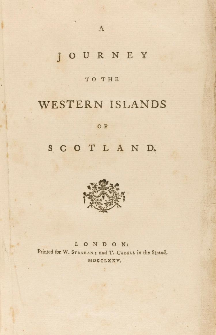 JOHNSON, SAMUEL. JOURNEY TO THE WESTERN ISLANDS OF SCOTLAND, 1775 (1 VOL.)