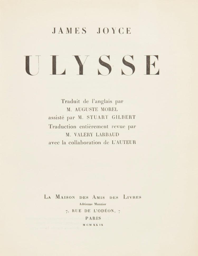 JOYCE, JAMES. ULYSSE, 1929, FIRST FRENCH EDITION (1 VOL.)