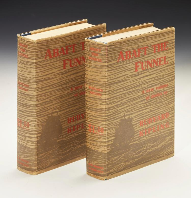 KIPLING, RUDYARD. ABAFT THE FUNNEL, 1909, BOTH FIRST AND SECOND ISSUES OF UNAUTHORIZED EDITION (2 VOL.)
