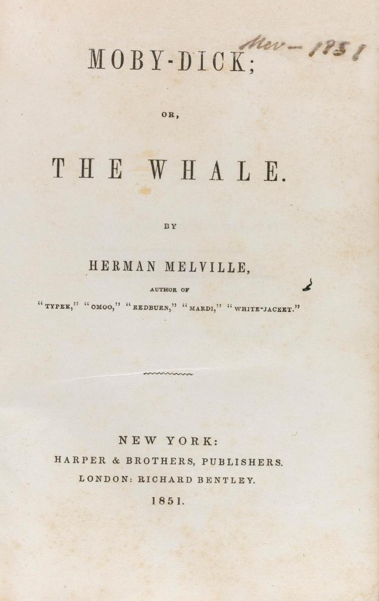 MELVILLE, HERMAN. MOBY DICK OR THE WHALE, 1851 (1 VOL.)