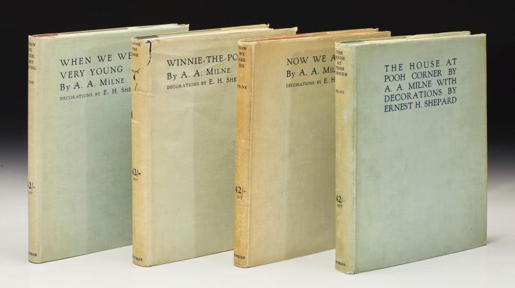 MILNE, A.A. COMPLETE SET OF POOH BOOKS, 1924-1928, LIMITED EDITION SIGNED BY BOTH AUTHOR AND ILLUSTRATOR (4 VOL.)