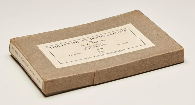 MILNE, A.A. THE HOUSE AT POOH CORNER, 1928, FIRST EDITION, LEATHER ISSUE IN BOX (1 VOL.)
