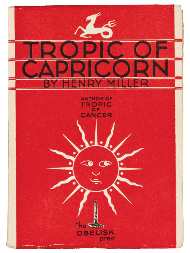 MILLER, HENRY. TROPIC OF CAPRICORN, 1939, INSCRIBED COPY (1 VOL.)