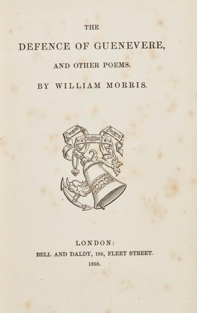 MORRIS, WILLIAM. THE DEFENCE OF GUENEVERE, AND OTHER POEMS, 1858 (1 VOL.)
