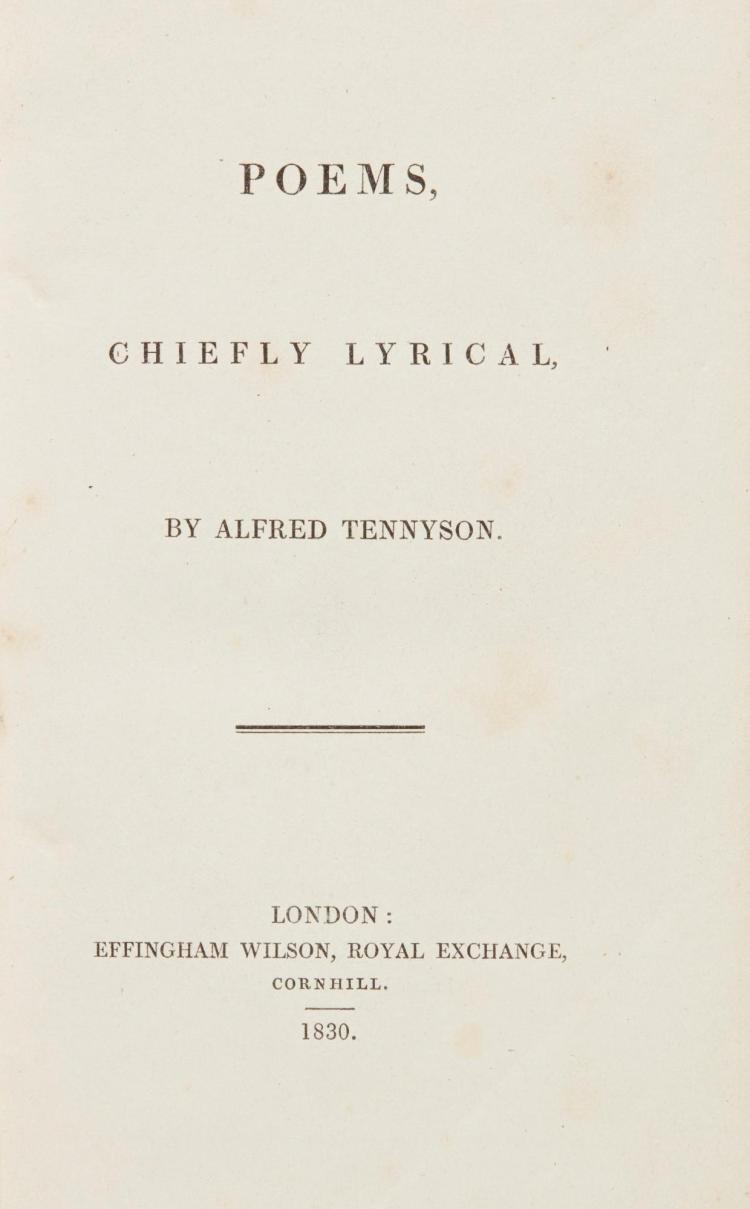 TENNYSON, ALFRED. POEMS, CHIEFLY LYRICAL, 1830 (1 VOL.)