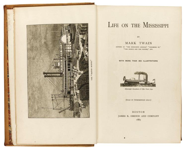 TWAIN, MARK [CLEMENS, S.L.]. LIFE ON THE MISSISSIPPI, 1883 (1 VOL.)