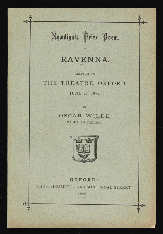WILDE, OSCAR. RAVENNA, 1878 (1 VOL.)