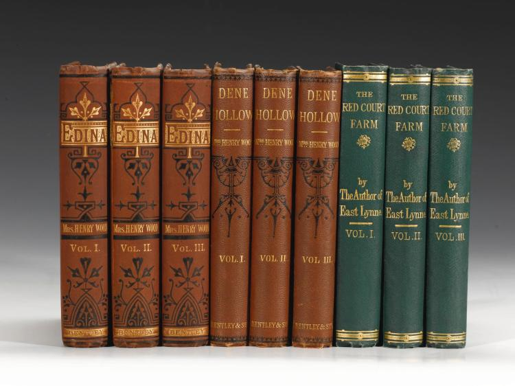 WOOD, MRS HENRY. 3 WORKS IN 9 VOLUMES (9 VOL.)