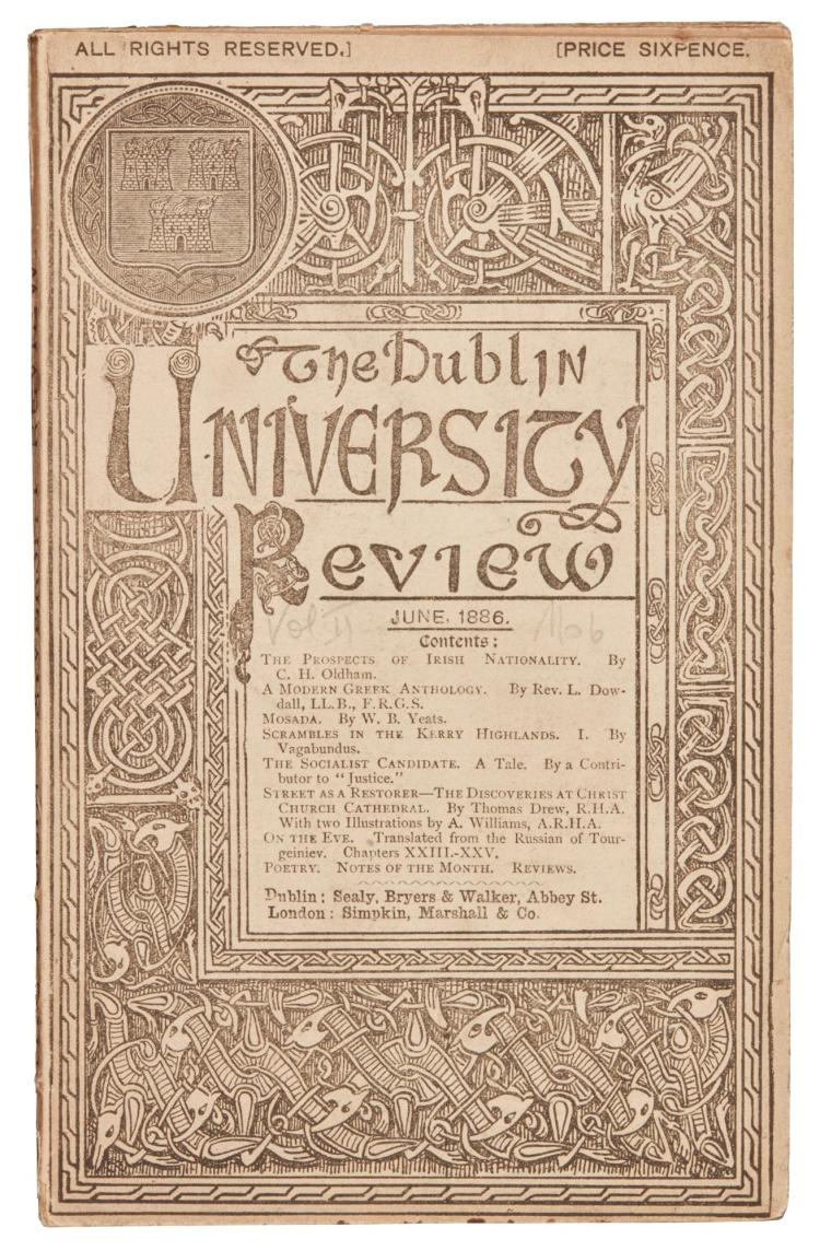 YEATS, W.B. MOSADA IN THE DUBLIN UNIVERSITY REVIEW, 1886 (1 VOL.)