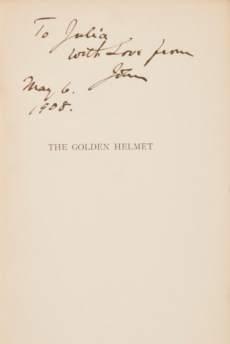 YEATS, W.B. THE GOLDEN HELMET, 1908, NUMBER 1 OF 50 COPIES, INSCRIBED BY THE PUBLISHER (1 VOL.)
