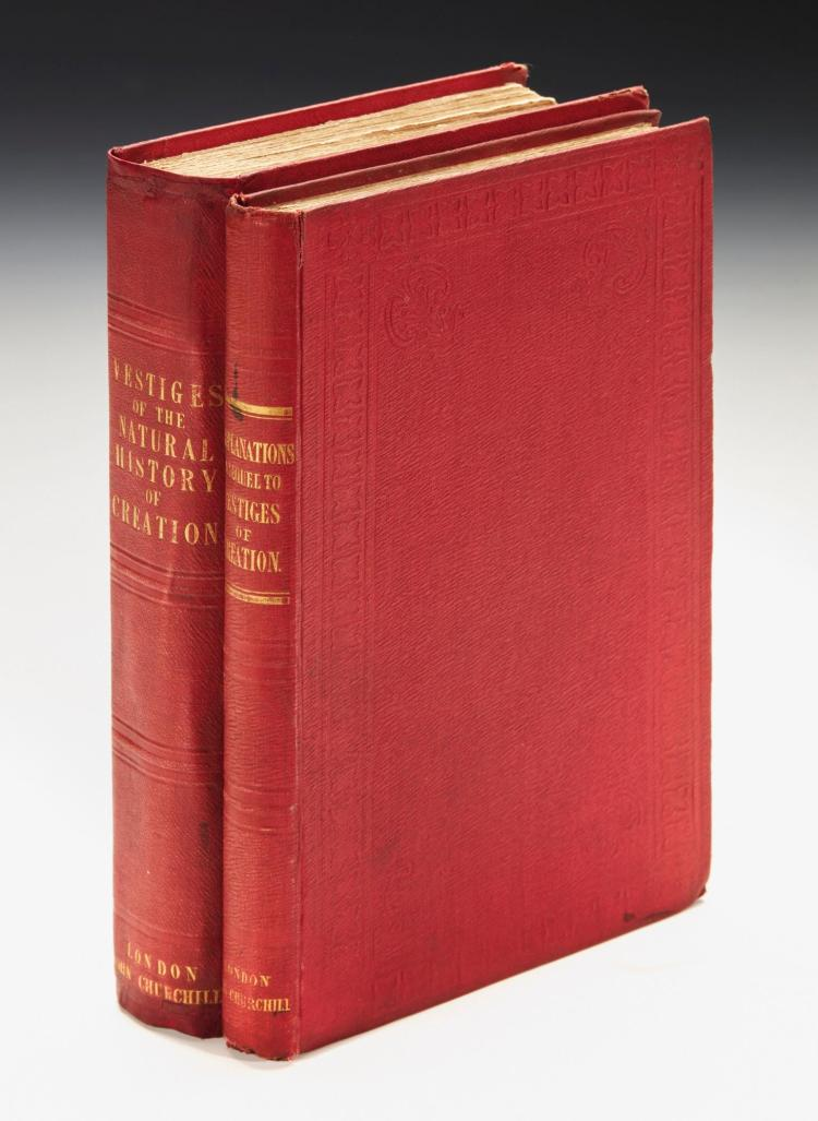 [CHAMBERS, ROBERT]. VESTIGES OF THE NATURAL HISTORY OF CREATION, 1844, [AND] EXPLANATIONS, 1845 (2 VOL.)