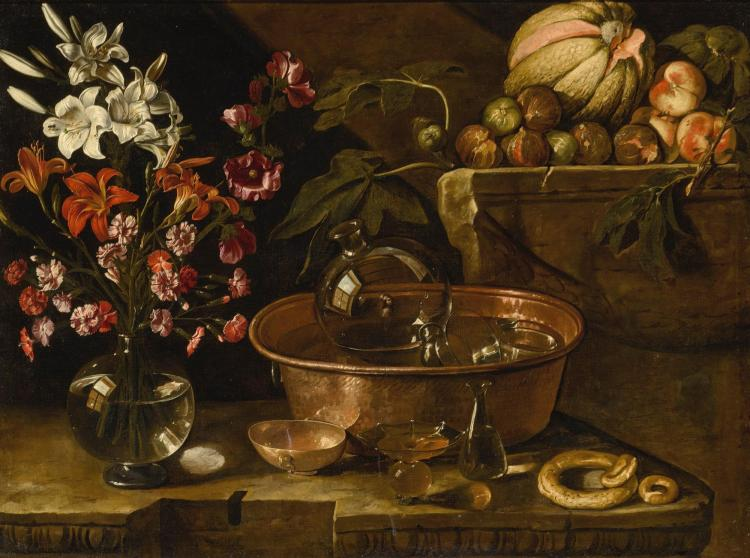 NEAPOLITAN SCHOOL, FIRST HALF OF THE 17TH CENTURY, ATTRIBUTED TO GIACOMO RECCO (NAPLES 1603 - BEFORE 1653) | Still life of flowers in a carafe, a copper basin with glasses and carafe, fruit, taralli and a glass bottle