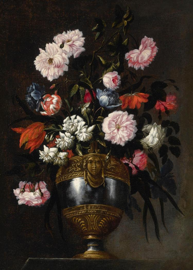 FRANCESCO MANTOVANO | Still lifeof roses, tulips, anemones and peonies in a vase ornamented with a grotesque mask