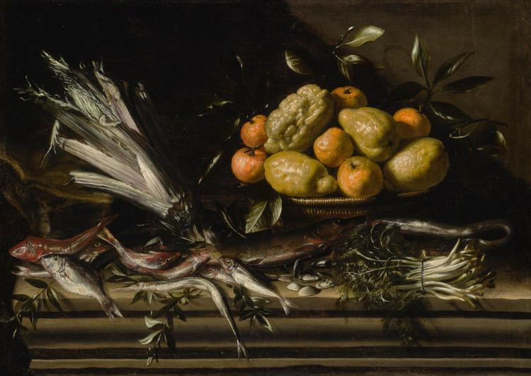 ATTRIBUTED TO TOMMASO SALINI, CALLED MAO | Still life with vegetables, fish, clams, and a basket of citrus fruit, on a stone ledge